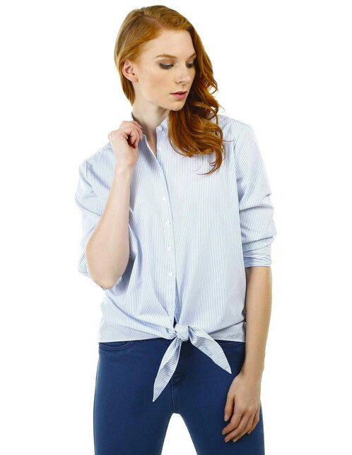 Tommy algodón azul Blusa a Hilfiger rayas q4awaEZO