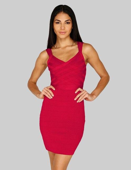 03dd7f487 Vestido casual Guess rojo texturizado cuello V
