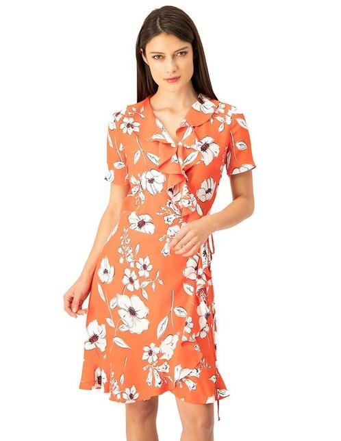 d0834cd81 Vestido Ivonne naranja con diseño floral