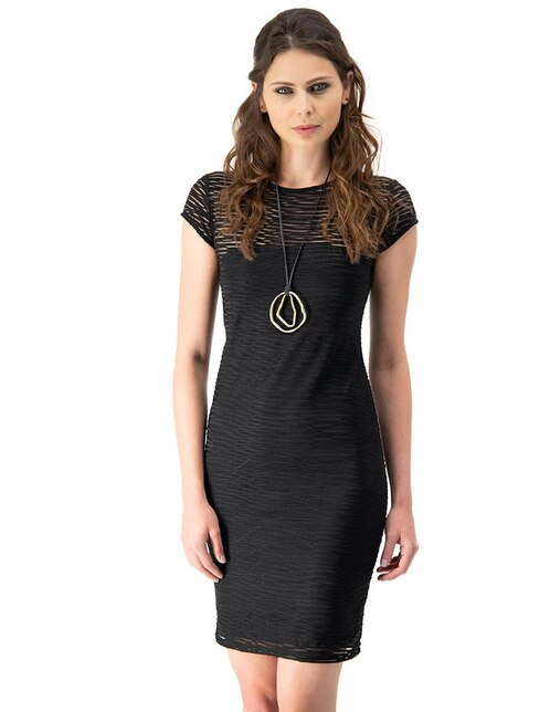Vestido Ivonne negro con diseño gráfico casual 7853ce58d3319