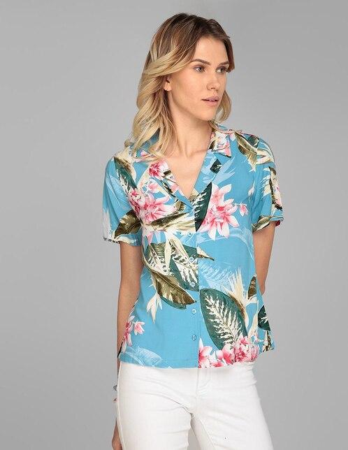 e0f7ce69c6 Blusa Guess azul con diseño floral