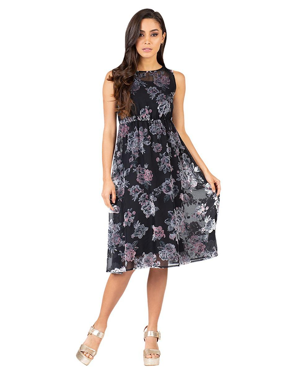 Vestido Floral Ivonne Petite Negro