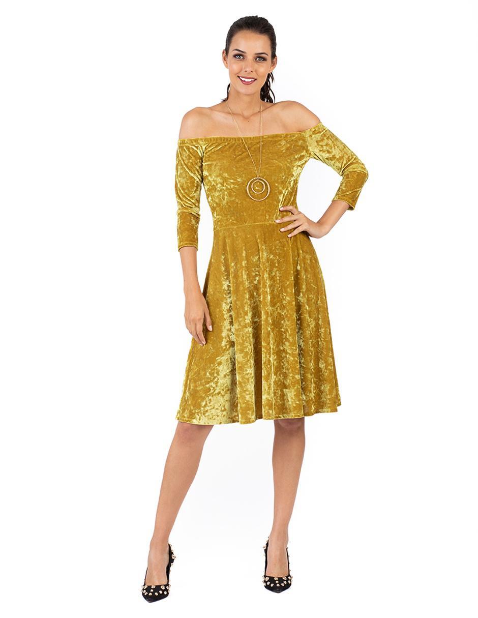 43f4ec3b3 Vestido liso Ivonne amarillo