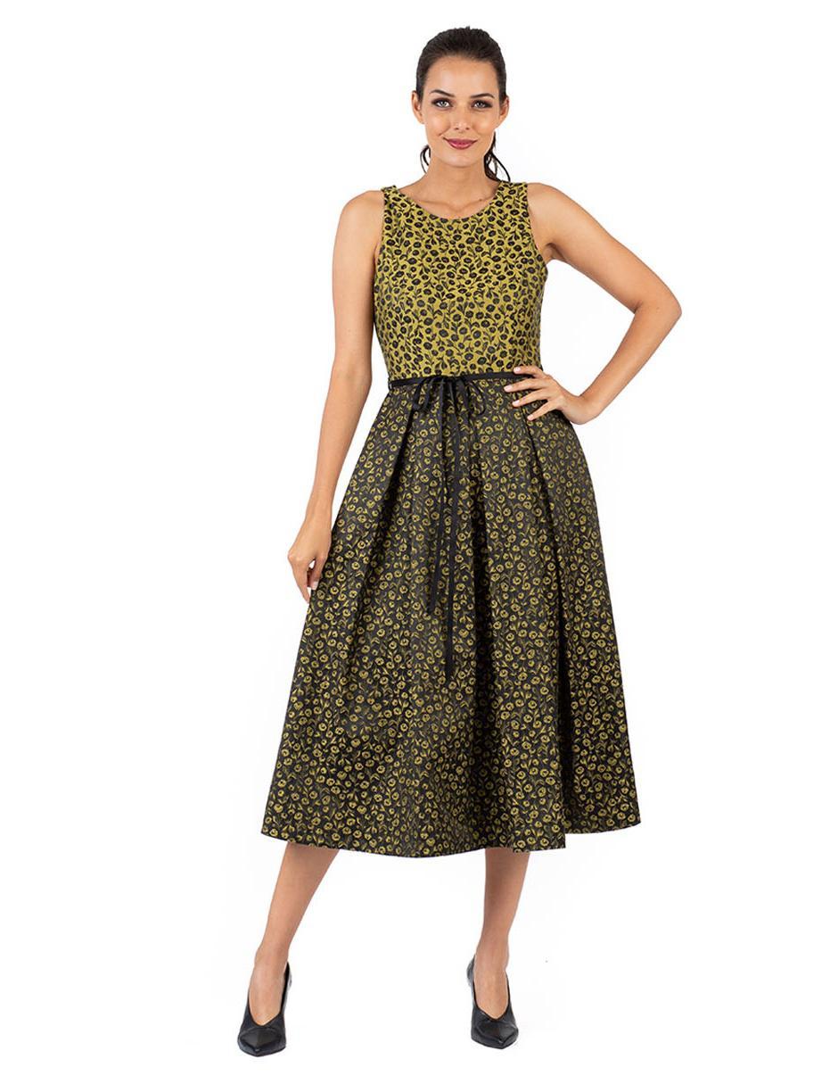 Vestido Floral Ivonne Algodón Verde Olivo