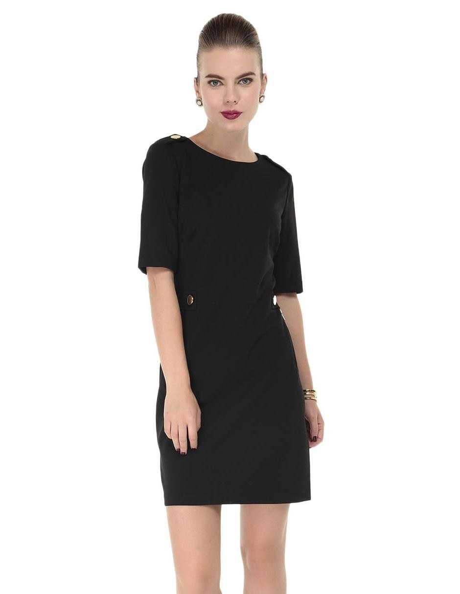 a1187aa105 Vestido liso Calvin Klein negro