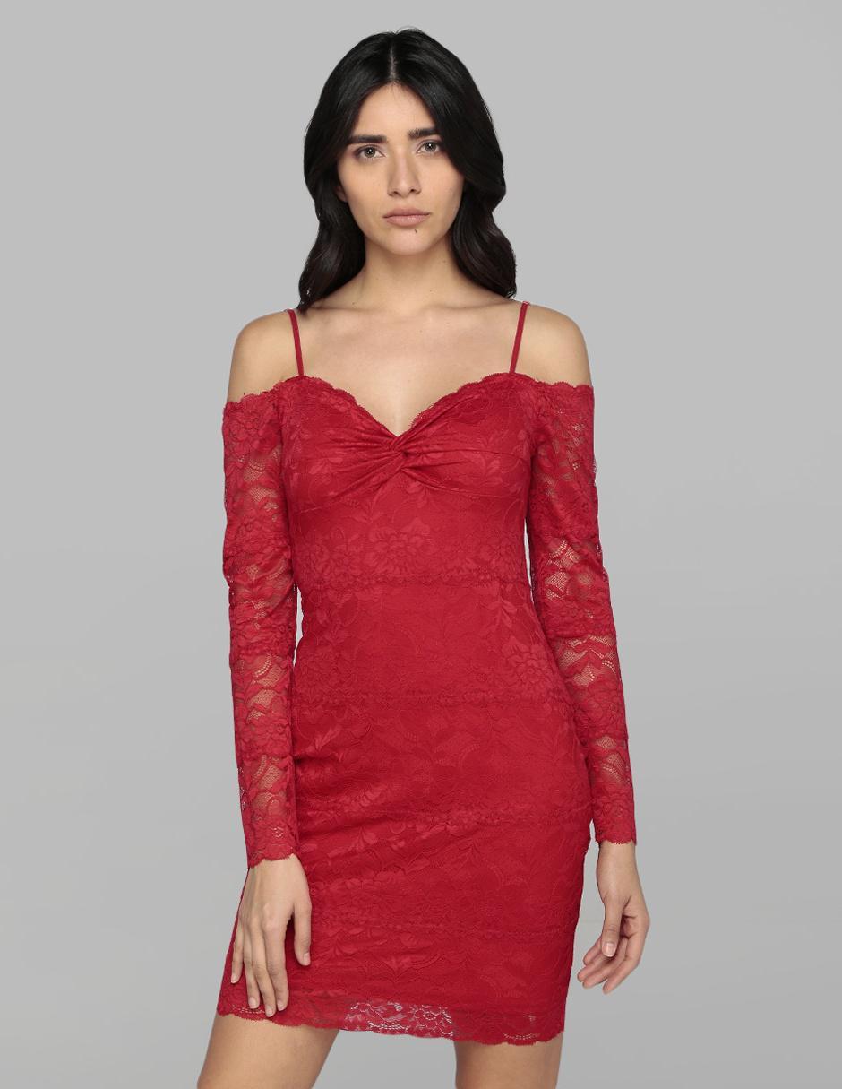 Vestido Guess Rojo De Encaje Casual