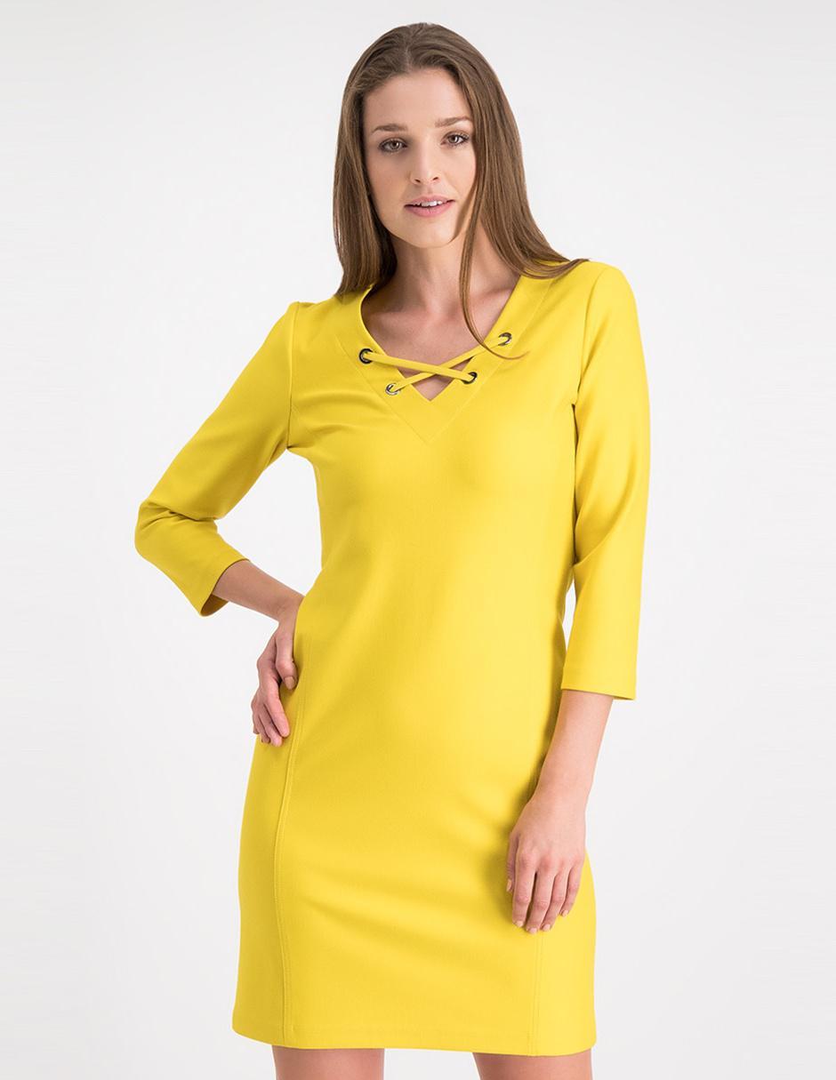 Vestido Casual Julio Amarillo Cuello V