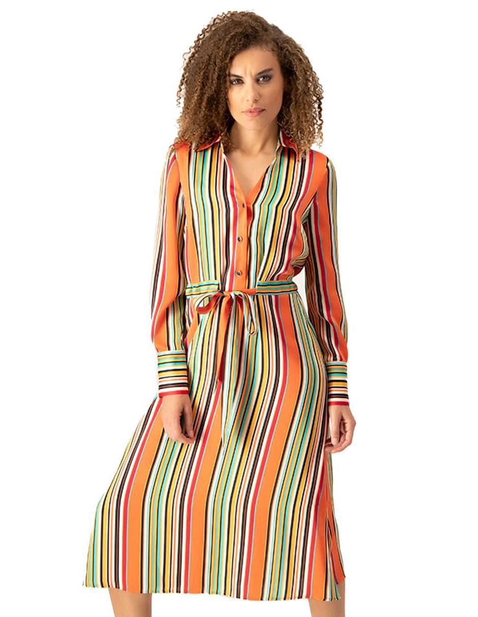 Vestido Ivonne Petite Naranja A Rayas Casual