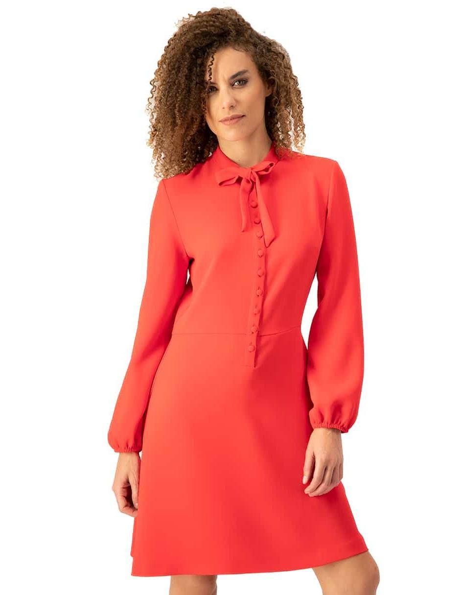 Vestido Ivonne Petite Rojo Con Cinta En Cuello