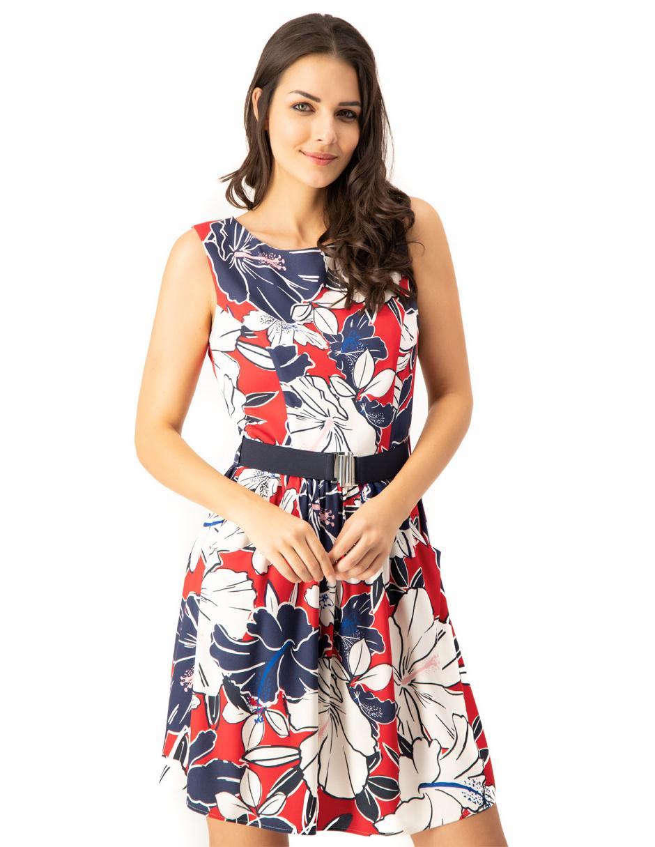 Vestido Ivonne Rojo Con Diseño Floral Casual