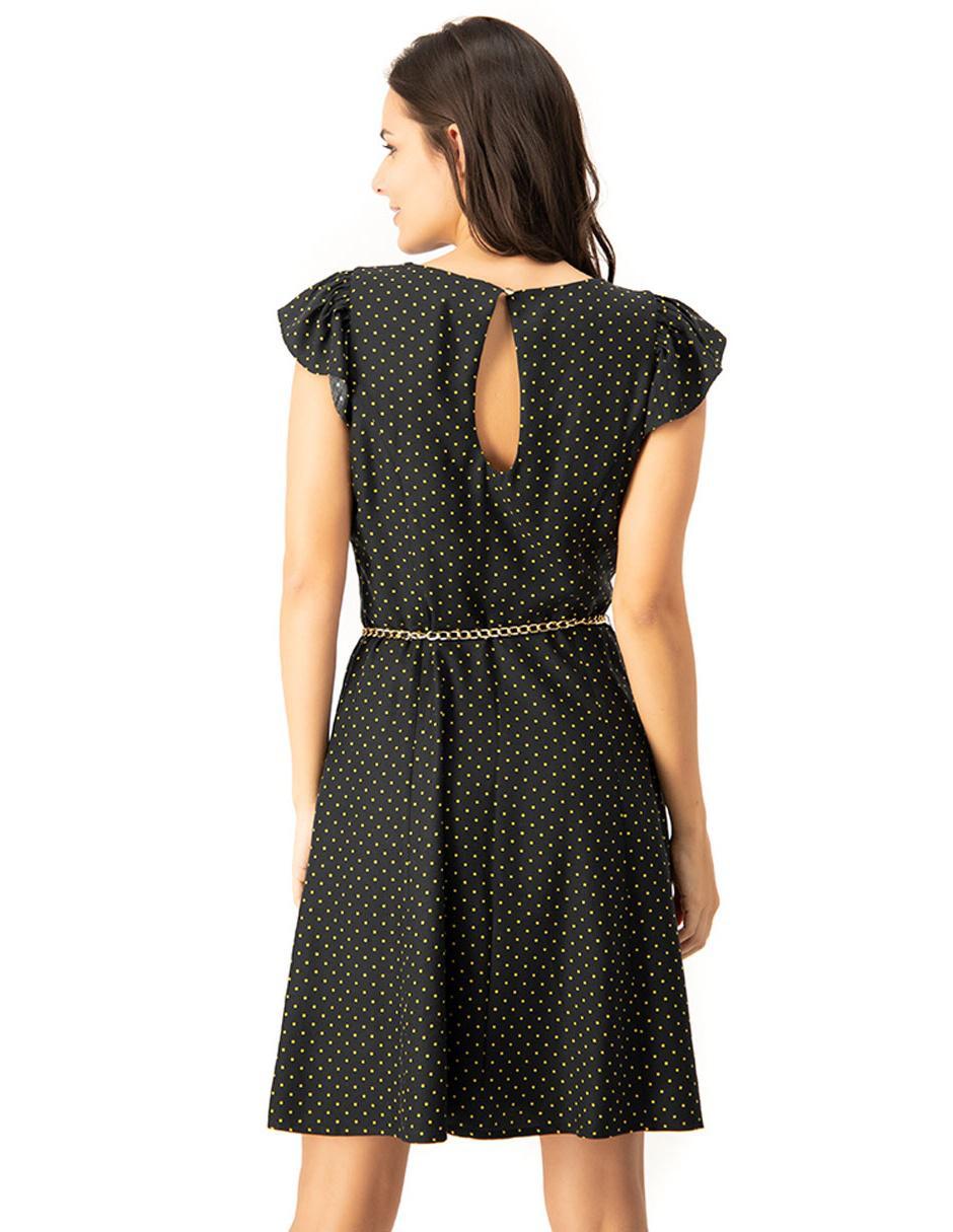 Vestido Ivonne Amarillo Con Diseño A Lunares