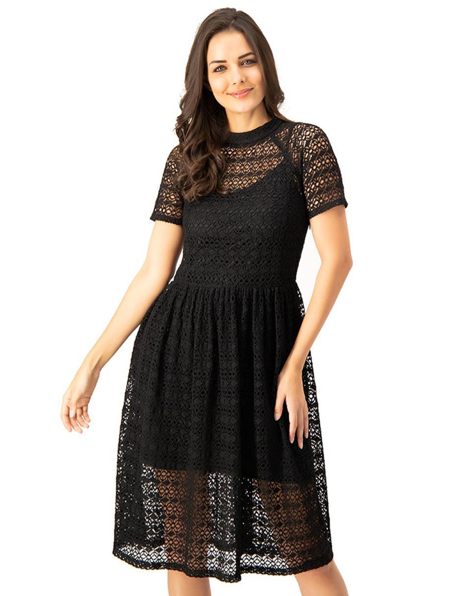 Vestido Ivonne Negro De Encaje Casual