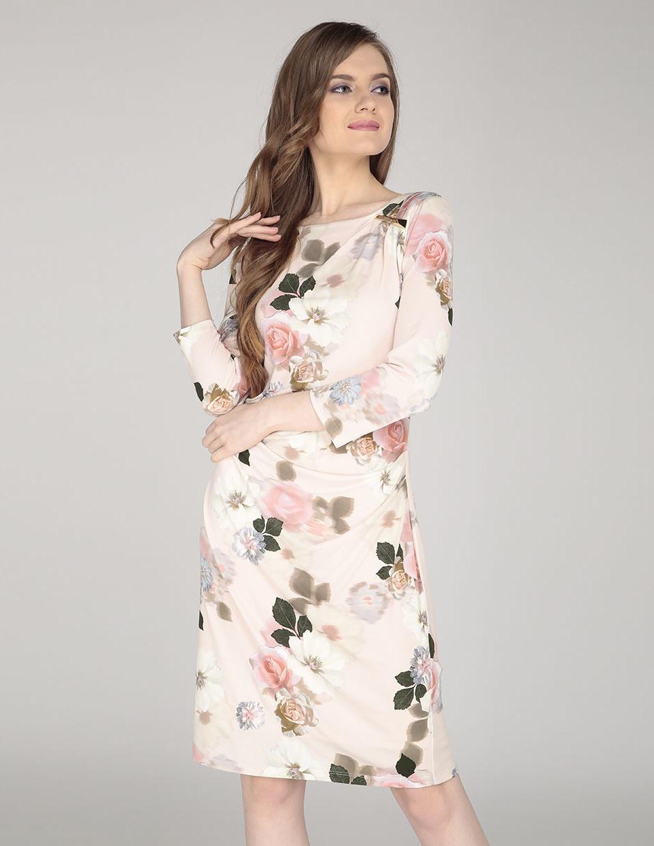 Vestido Calvin Klein Rosa Con Diseño Floral Casual