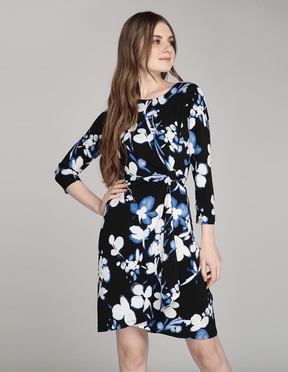 Vestido Calvin Klein Azul Marino Con Diseño Gráfico Casual