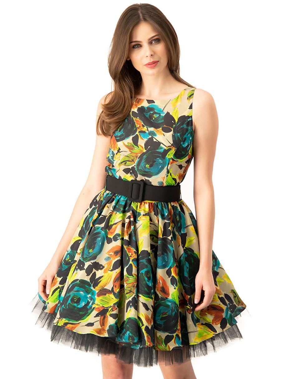 Vestido Ivonne Verde Limón Diseño Floral Con Tul
