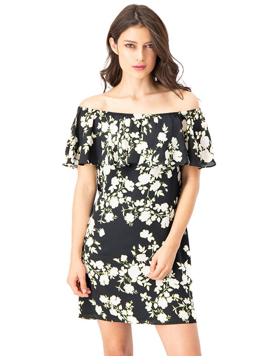 Vestido Ivonne Amarillo Con Diseño Floral