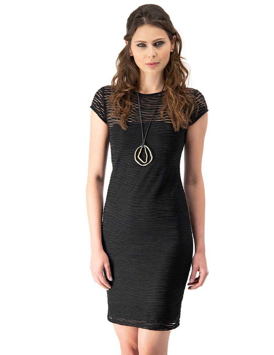 Vestido Ivonne Negro Con Diseño Gráfico Casual