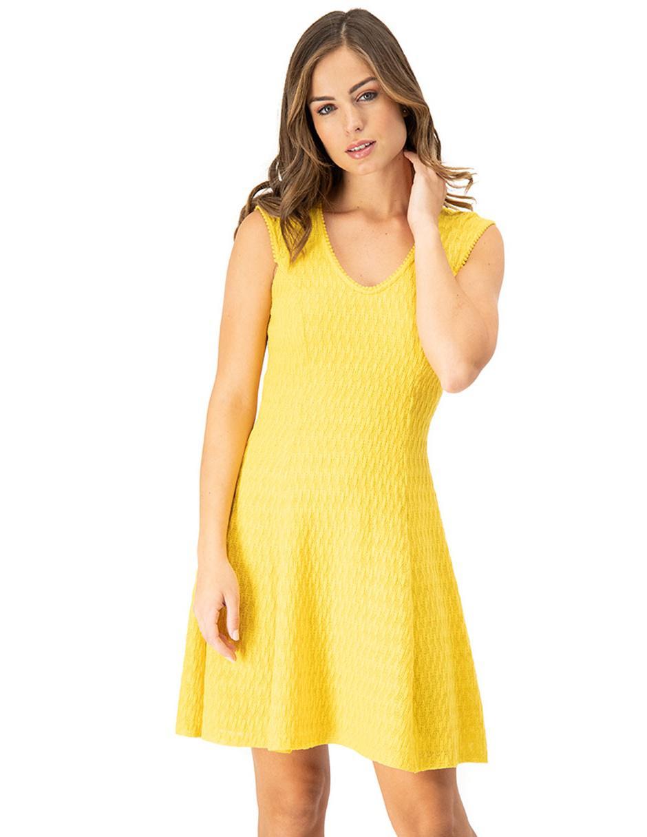Vestido Ivonne Amarillo Casual Con Encaje