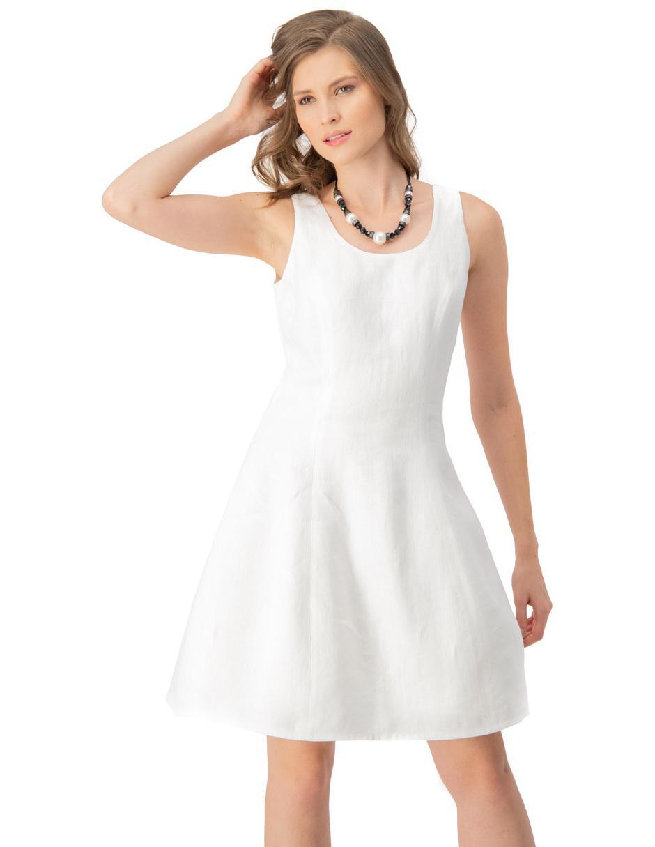 Vestido Ivonne Blanco Cuello Redondo