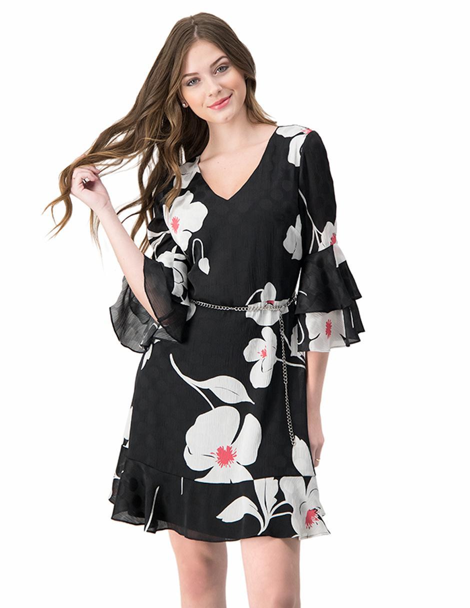 Vestido Casual Ivonne Negro Con Diseño Floral