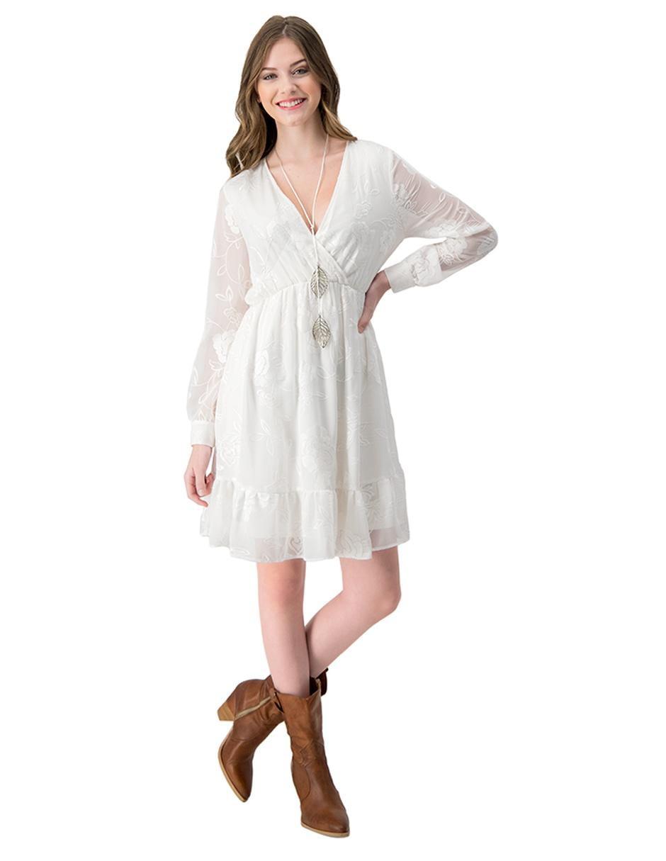 Vestido Casual Ivonne Blanco Con Diseño Floral