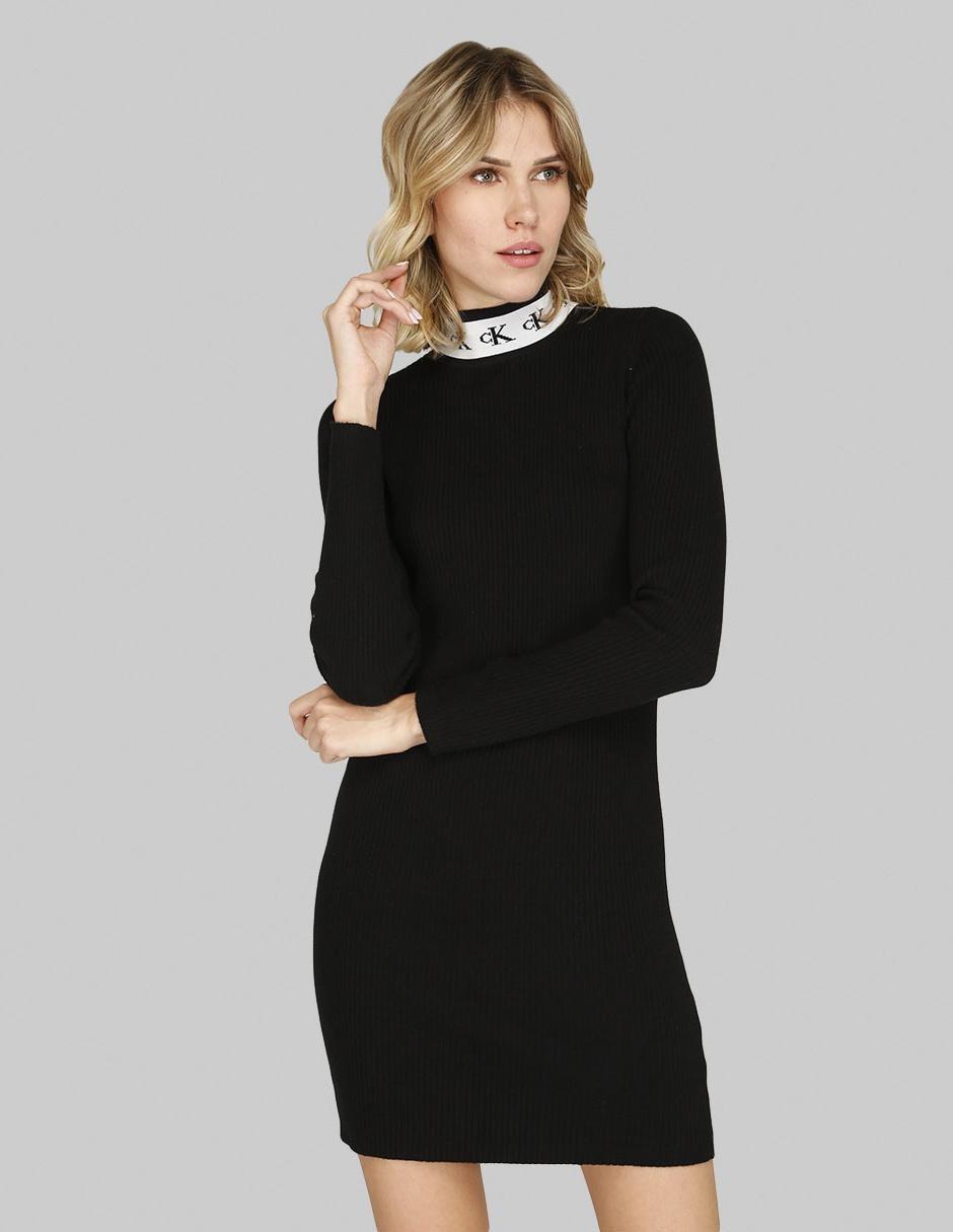 Vestido Casual Calvin Klein Jeans Negro Acanalado Cuello Alto