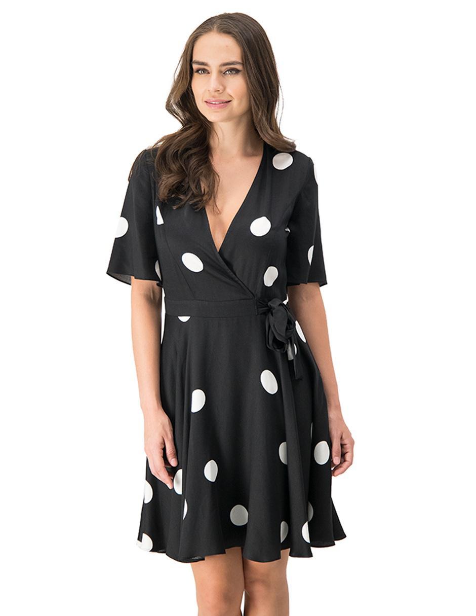 Vestido MAP negro a lunares formal